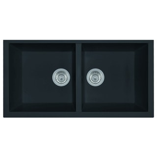 Alfi AB3420UM-BLA Black Granite Composite 34-inch Undermount Double Bowl Kitchen Sink