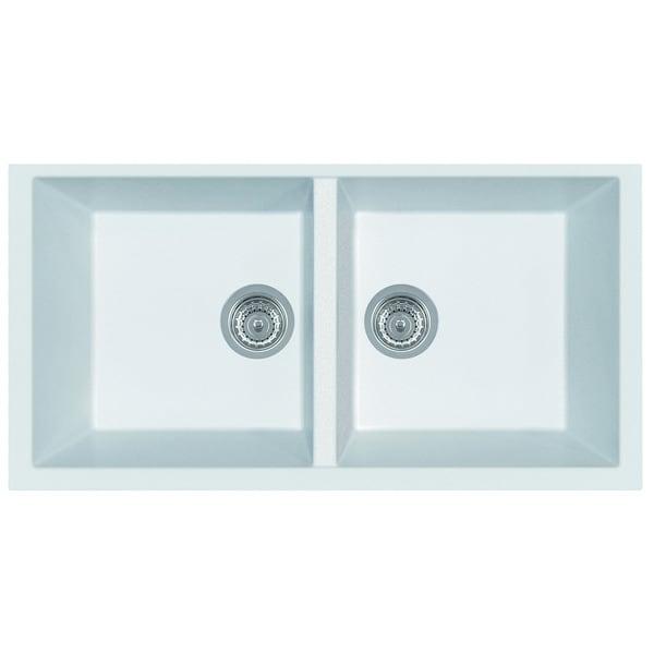 Alfi White Granite Composite 34 Inch Undermount Double Bowl Kitchen Sink