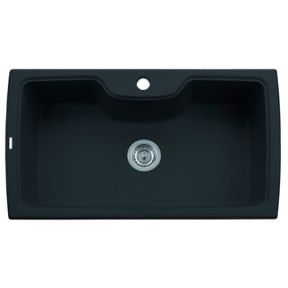 ALFI Black Granite Composite 35-inch Drop-in Single Bowl Kitchen Sink