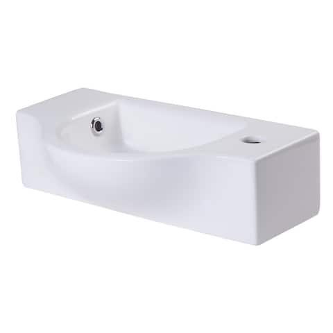 ALFI brand AB105 Small White Wall-mounted Ceramic Bathroom Sink Basin