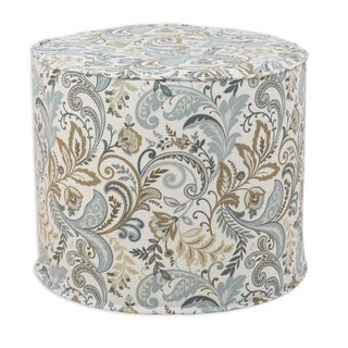 Findlay Seaglass Blue/Tan/Off-White 20-inch-round x 17-inch-high Corded Foam Ottoman