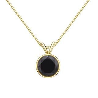 Auriya 14k Gold 1ct TDW Round-Cut Black Diamond Bezel Solitaire Necklace