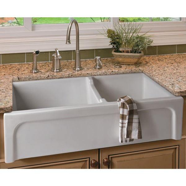 Farmhouse Sink 33 Inch White : ... 36-inch Biscuit Arched Apron Thick Wall Fireclay Double Bowl Farm Sink