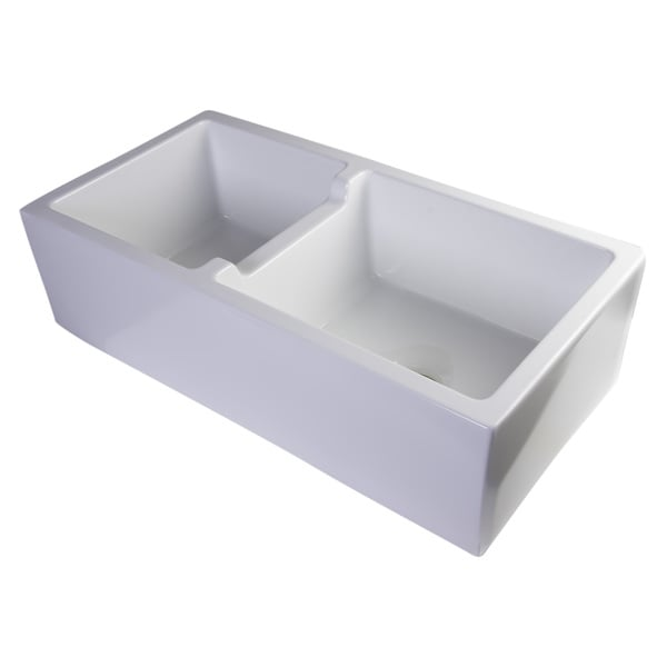 Alfi White Smooth FIreclay 36-inch Thick Wall Double Bowl Farm Sink ...