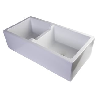 Alfi White Smooth FIreclay 36-inch Thick Wall Double Bowl Farm Sink