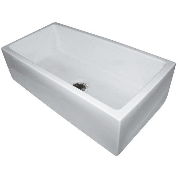 ALFI AB3618HS-B White Fireclay 36-inch Smooth Single Bowl Farm Sink ...