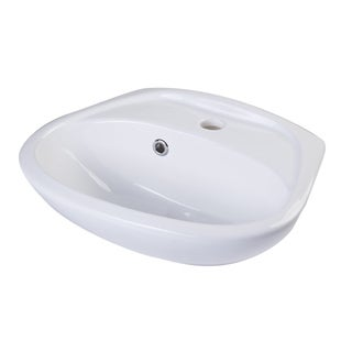 Alfi White Porcelain Small Wall-mount Basin with Overflow