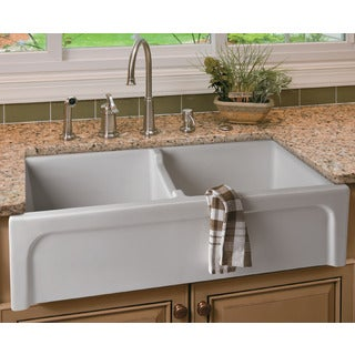 ALFI brand AB3918ARCH-W 39-inch White Arched Apron Thick Wall Fireclay Double Bowl Farm Sink