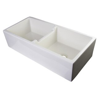 Alfi Brand White Smooth Thick-wall Fireclay 39-inch Double-bowl Farmhouse Sink