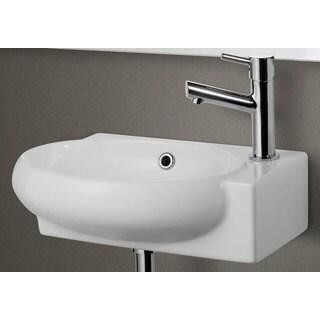 White Ceramic Small Wall-mounted White Porcelain Bathroom Sink Basin