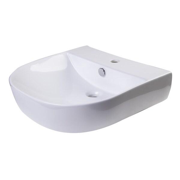 Alfi White Porcelain 20-inch D-bowl Wall-mounted Bath Sink - Free ...