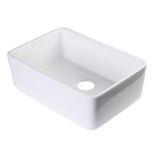ALFI AB503-W White Fireclay 23-inch Single Bowl Farmhouse Kitchen Sink
