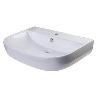 Alfi AB112 White Porcelain 28-inch Wall-mounted D-Bowl Bath Sink