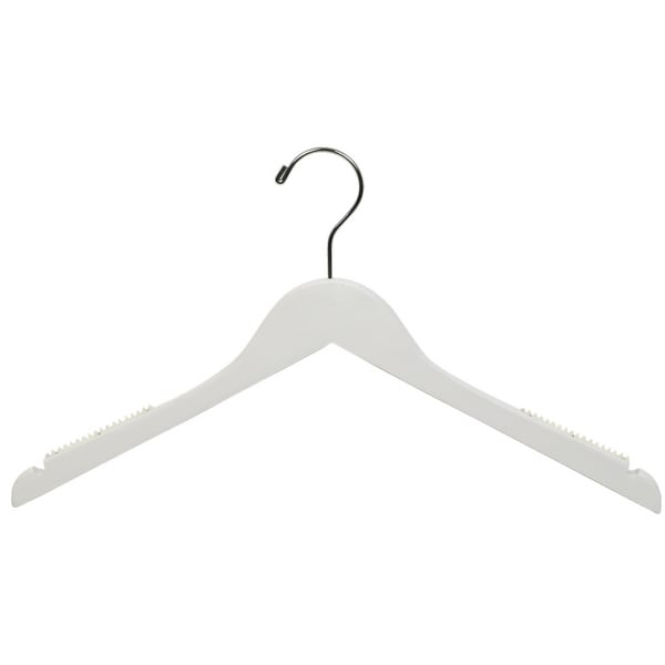 White Top Hanger with Notches and Inset Rubber Strips