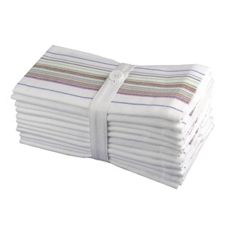 Celebration Preston White Striped Cotton 12-piece Dinner Napkin Set