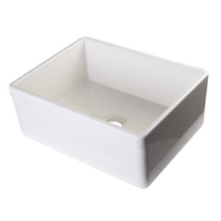 Alfi Biscuit Fireclay 26-inch Decorative Lip Single Bowl Farmhouse Kitchen Sink