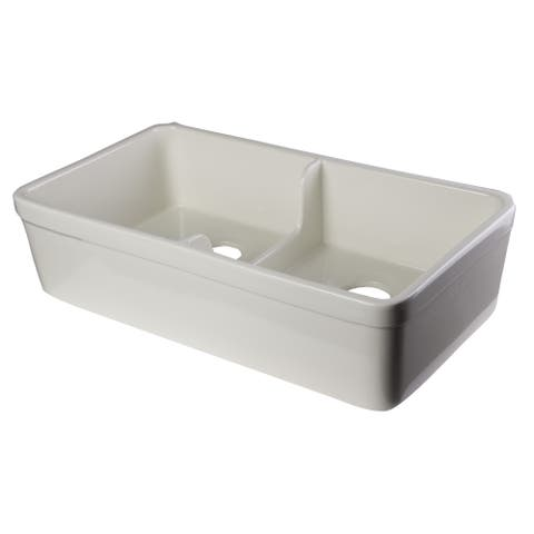 ALFI Brand Biscuit 32-inch White Fireclay Double Bowl Farmhouse Kitchen Sink