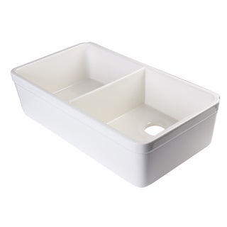 Alfi Biscuit Fireclay 32-inch Double Bowl Farmhouse Kitchen Sink with 1 3/4-inch Lip