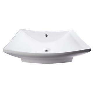 EAGO BA142 Rectangular White Porcelain 28-inch 1-hole Bathroom Vessel Sink