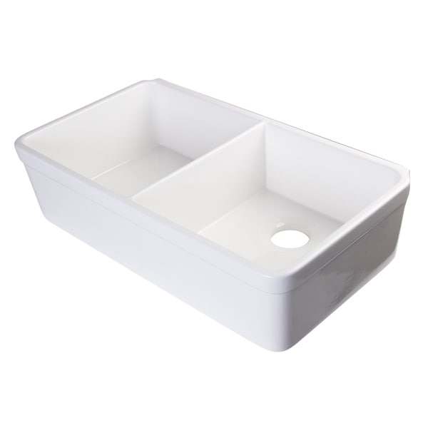 Alfi White Fireclay 32 Inch Double Bowl Farmhouse Kitchen Sink With 1 3 4