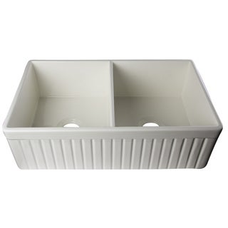 Alfi Biscuit Fireclay 32-inch Fluted Double Bowl Farmhouse Kitchen Sink