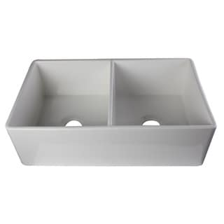 Alfi White Fireclay 32-inch Smooth Double Bowl Farmhouse Kitchen Sink