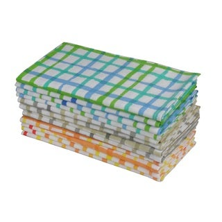 Celebration 12-piece Multi Color Plaid Dinner Napkin Set