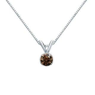 Auriya 14k Gold 1/4ct TDW Round-Cut Brown Diamond Bezel Solitaire Necklace (SI1-SI2)