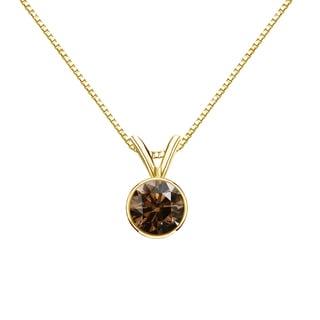 Auriya 14k Gold 1/2ct TDW Round-Cut Brown Diamond Bezel Solitaire Necklace (SI1-SI2)