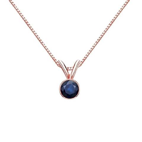 Auriya 1/4ctw Bezel Set Solitaire Blue Sapphire Necklace 14k Gold