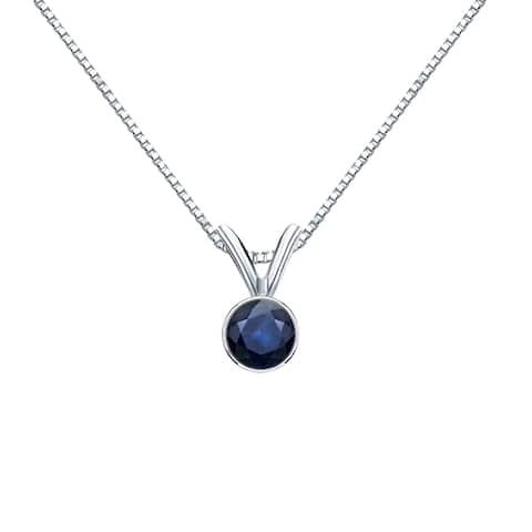 Auriya 1/4ctw Bezel Set Solitaire Blue Sapphire Necklace 14k Gold