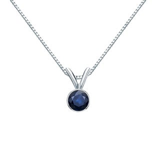 Auriya 14k Gold 1/4ct Round-Cut Blue Sapphire Gemstone Bezel Solitaire Necklace