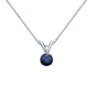 Auriya 14k Gold 1/4ct Round Bezel-Set Blue Sapphire Necklace