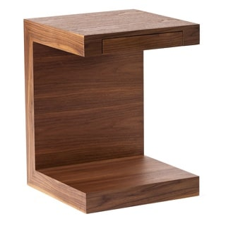 Urban Designs Open C Design Walnut Finish MDF Side Table/Nightstand