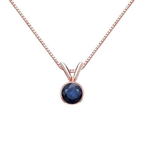 Auriya 1/3ctw Bezel Set Solitaire Blue Sapphire Necklace 14k Gold