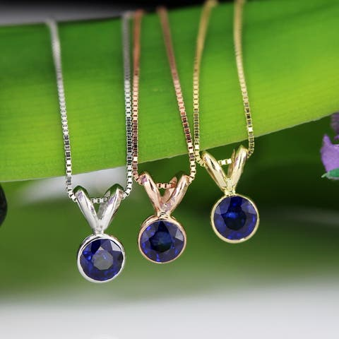 Auriya 1/3ctw Bezel Set Solitaire Blue Sapphire Necklace 14k Gold