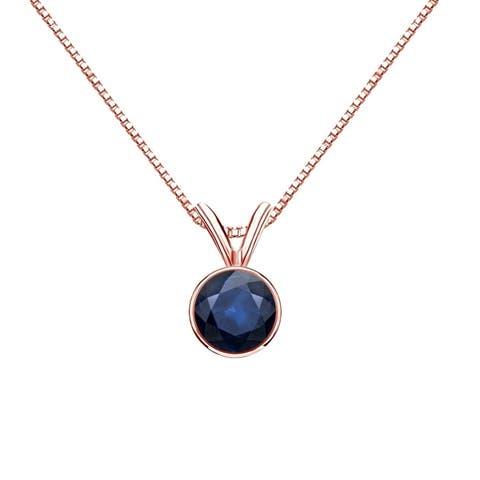 Auriya 1/2ctw Bezel Set Solitaire Blue Sapphire Necklace 14k Gold