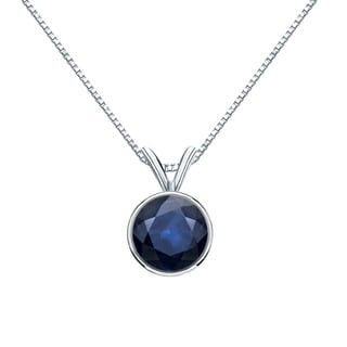 Auriya 14k Gold 1ct Round-Cut Blue Sapphire Gemstone Bezel Solitaire Necklace