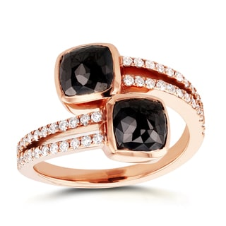 Annello Two Collection 18k Rose Gold 3 1/5ct TDW Cushion Black and White Diamond Crossover Ring (G-H, I1-I2)
