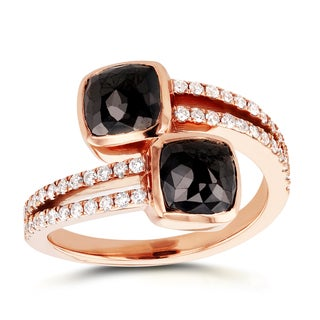 Annello by Kobelli Two Collection 18k Rose Gold 3 1/5ct TDW Cushion Black and White Diamond Crossove