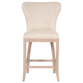 Gray Manor Kelsey Beige Fabric Counter Stool with Solid Oak Frame