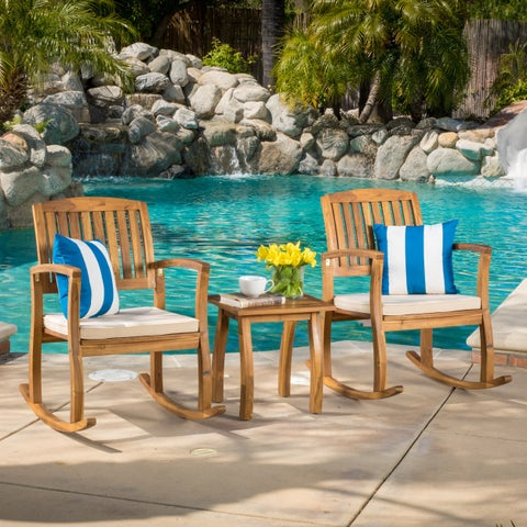 Lucca Outdoor Acacia Wood 3-piece Rocking Chair Set with Cushion by Christopher Knight Home
