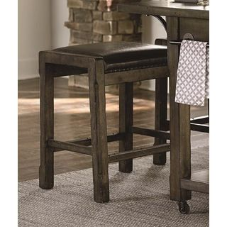 Uph Distressed Brown Finish Rubberwood Kitchen Island Stool (Set of 2)