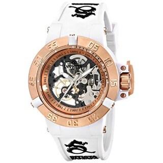 Invicta Women's Subaqua 20 ATM Mechanical Hand-wind White Silicone Band Watch