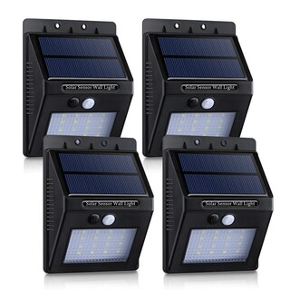 ABS/PC 320-lumen 16 LED Solar Panel-powered Motion-sensor Outdoor Security Lights