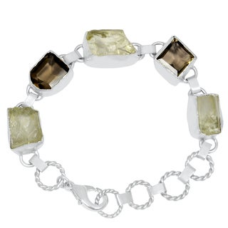 Orchid Jewelry Silver Overlay 55ct Green Amethyst and Smoky Quartz Bracelet