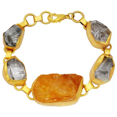 Orchid Jewelry Yellow Gold Overlay 135ct TGW Genuine Citrine and Crystal Quartz Bracelet