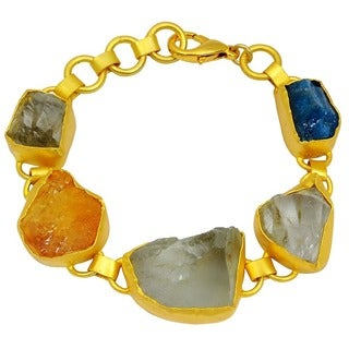 Orchid Jewelry 80.00ct TGW Genuine Green Amethyst, Citrine and Appetite Brass Bracelet
