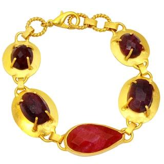 Orchid Jewelry Yellow Gold 60ct TGW Genuine Ruby Bracelet