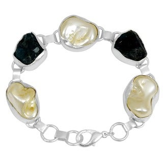 Orchid Jewelry Silver Overlay 122ct Appetite and Pearl Fashion Bracelet